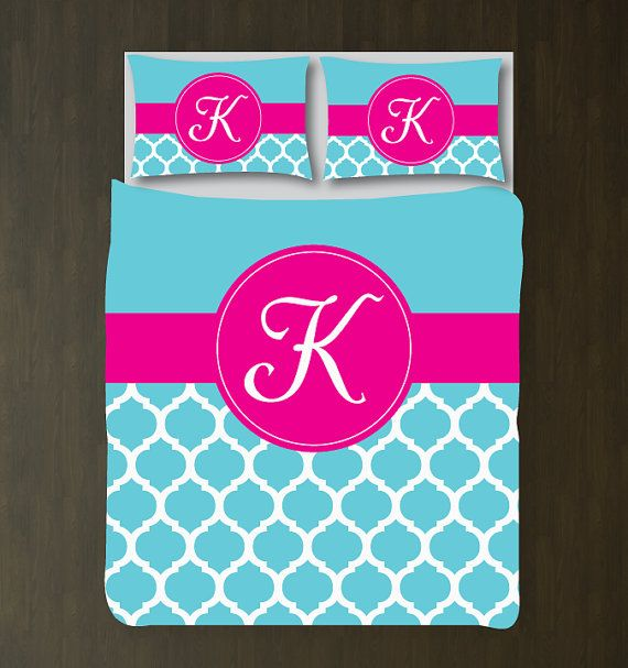 Quatrefoil Bedding Set-Duvet Cover and Shams-Personalized-Monogram Initial-Custom-Aqua-Hot Pink-ANY COLORS-Twin XL/Full/Queen/King-Size