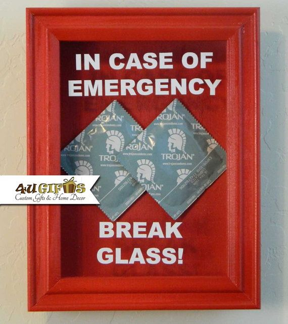 Valentine's Day Sale, In Case of Emergency Break Glass, Shadow Box, Dorm Room, Gift for Guys, Funny Gift, Unique Gift, DIY Gift, Condom
