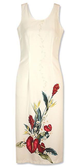 Kamehameha Long Tank White Hawaiian Dress