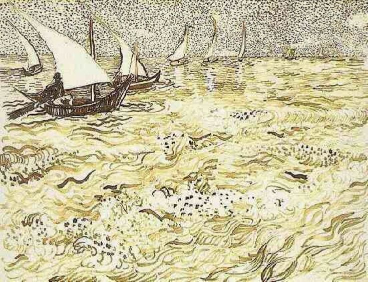 A Fishing Boat at Sea - Vincent van Gogh. Completed by : 1888, Arles, Bouches-du-Rhone, France, Post Impressionism, Genre : Marina, Ink and watercolour on paper, Gallery : Solomon R. Guggenheim Museum, New York, USA. | via wikipaintings.org