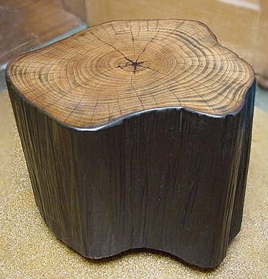 ash table, two toned with striated sides