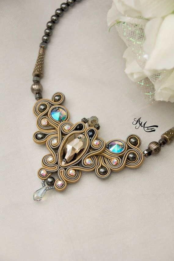 Soutache necklace. Soutache jewelry . by AMdesignSoutache on Etsy