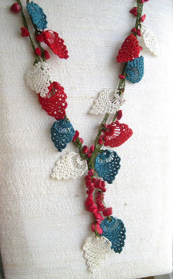 Crochet Necklace Needle Lace Red White Blue Patriotic Oya Flowers