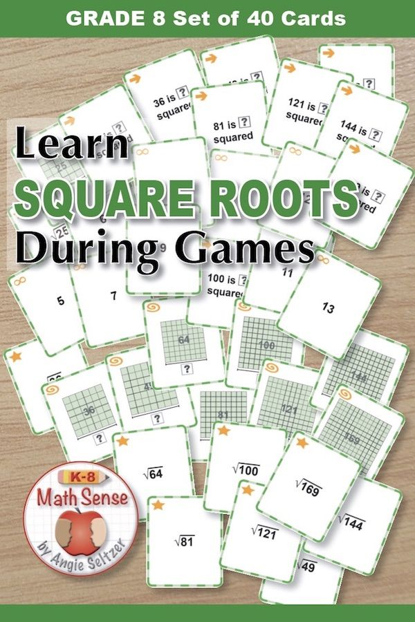 Square Root Games This 40 Card Set Focuses On Perfect Square Numbers And The Square Roots As Models O Square Roots Algebraic Expressions Square Roots Activity