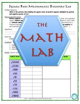 This is one of a series of self-guided discovery labs for a meaningful understanding of core mathematical concepts.  Students use the familiar format of the scientific method to answer a mathematical question/problem.  In this lab, students investigate the relationships among square roots, perfect squares, and positive and negative powers of ten (10).