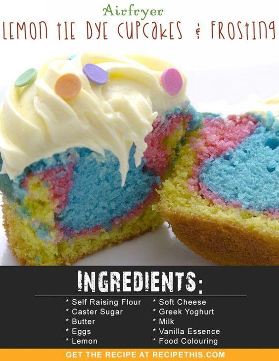 Airfryer Recipes   Airfryer Lemon Tie Dye Cupcakes