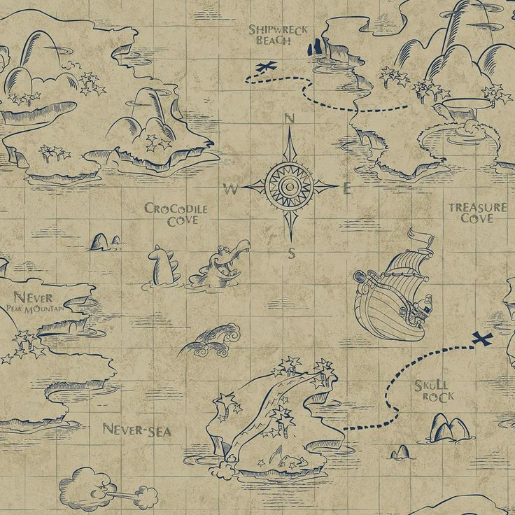 Disney's Jake and the Never Land Pirates Map Removable Wallpaper, Lt Brown