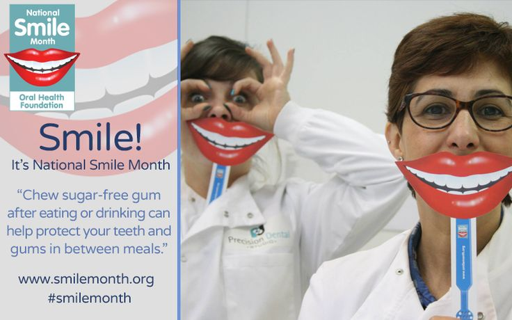 National Smile month #smilemonth. Look after your smile by chewing sugar-free gum after food and drinks to protect your teeth and gums.