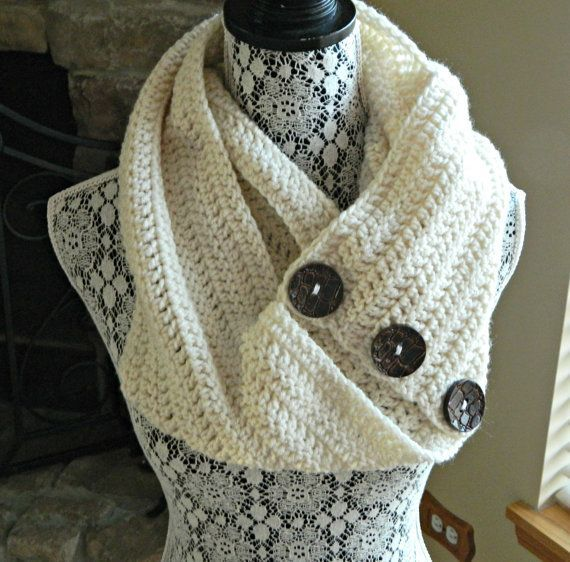 Picture only, Etsy listing of double crochet button cowl/infinity scarf with oversize buttons