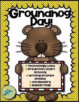 Free! Groundhog Day Writing Prediction Chart  • Technology Links • Class Prediction Chart Activity • Groundhog Bubble Map (color and black and white) • Groundhog Fact Cards • Groundhog  Writing Activity