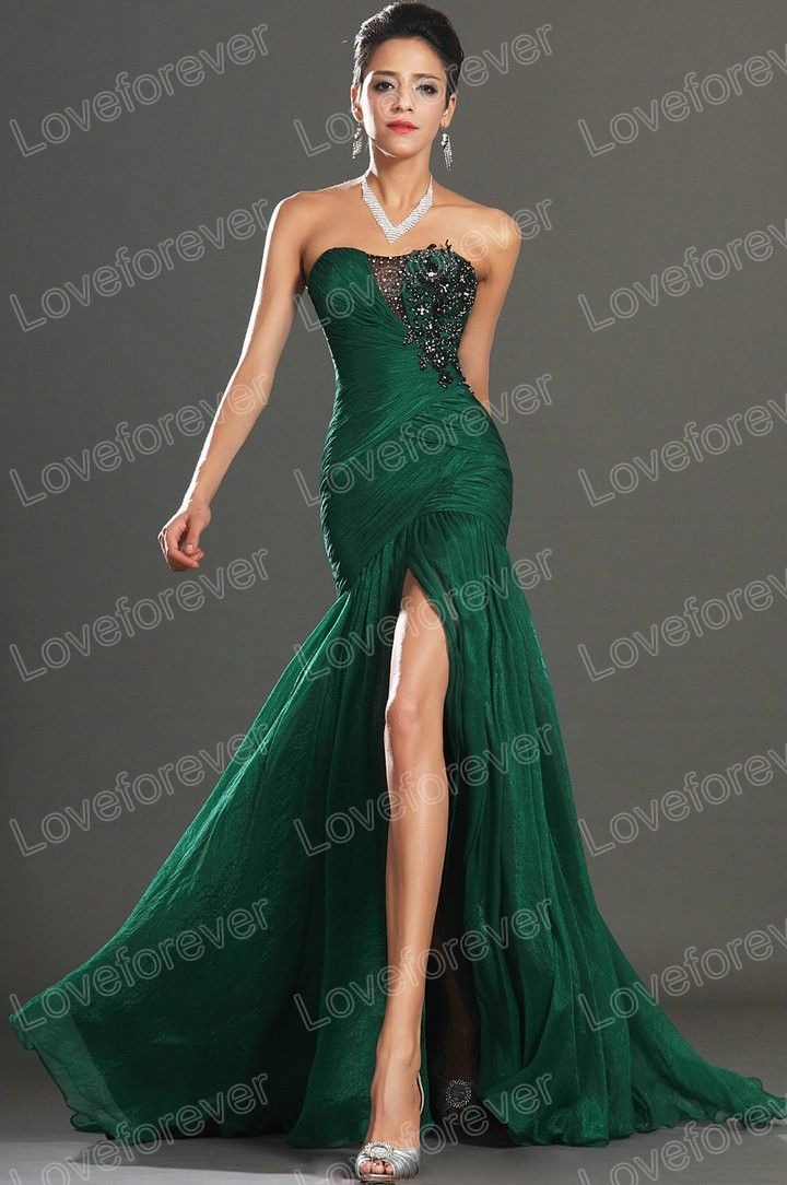 Fitted Forest Green Strapless with High Cut