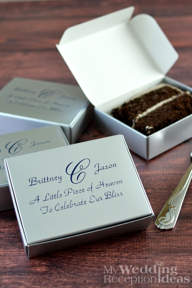 wedding cake boxes personalized 5 x 4 custom printed cake slice favor boxes set of 50 22068