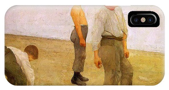 Boys IPhone X Case featuring the painting Boys Throwing Pebbles Into The River 1890 by Ferenczy Karoly