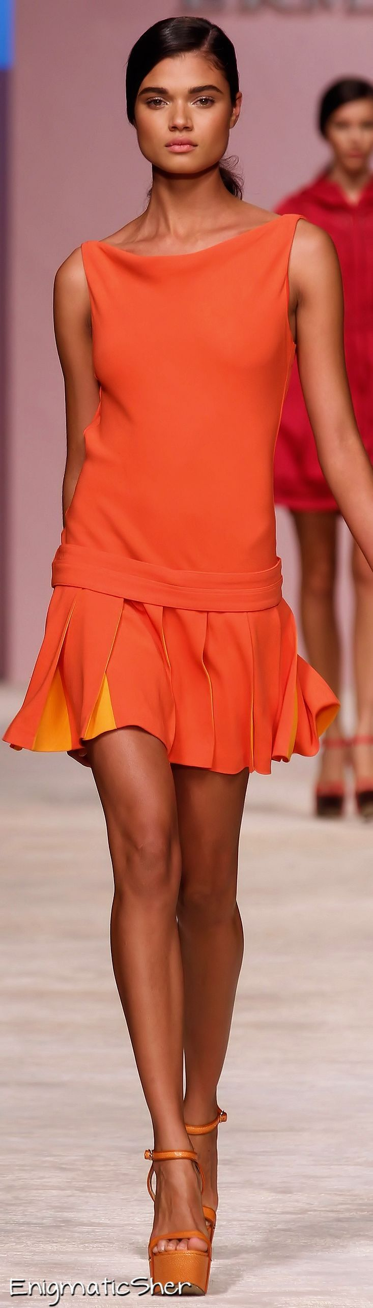 Ermanno Scervino – Summer Orange – dropped-waist mini with pleated skirt.