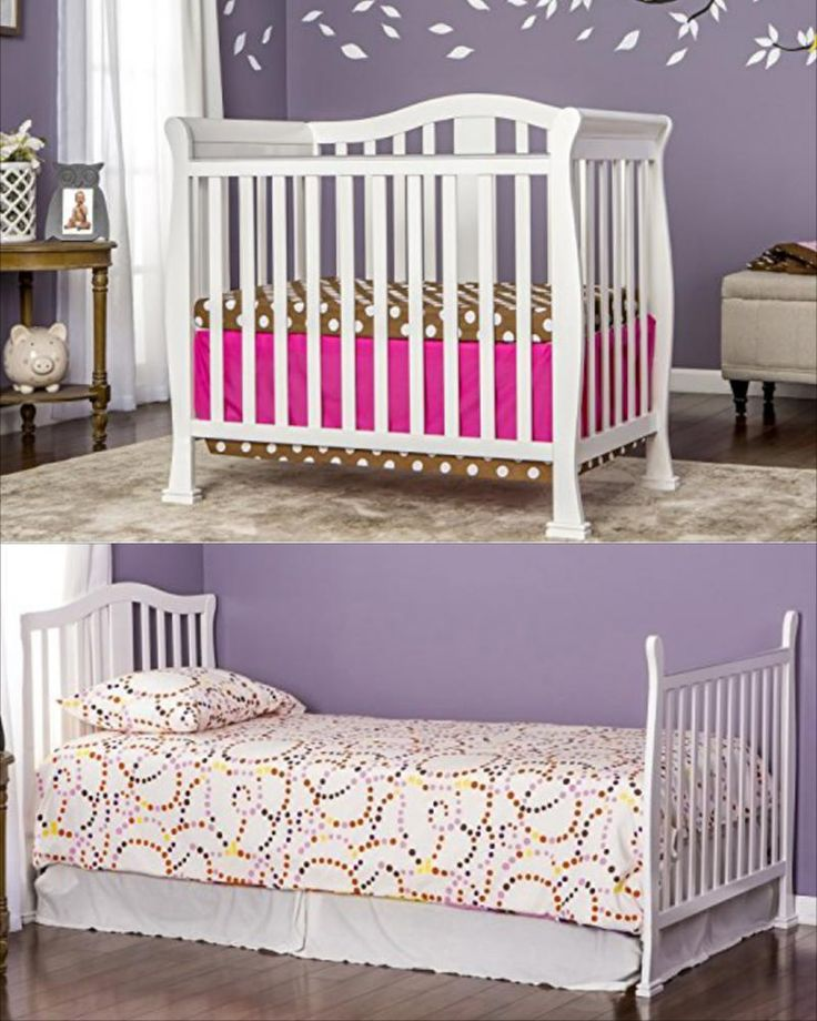 ICYMI: White Convertible Baby Crib Wood Mini Nursery Furniture Toddler Daybed 4 In 1