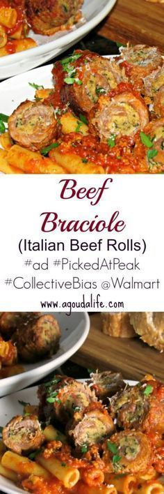 Thinly sliced sirloin filled with a delicious mix of seasoned breadcrumbs, two kinds of cheese, prosciutto and fresh herbs, rolled tightly then braised in Prego Farmers' Market® Classic Marinara. The aroma alone will get you! #ad #PickedAtPeak #CollectiveBias #Walmart