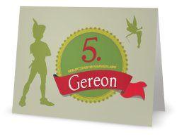 Peter Pan Einladung zum 5. Geburtstag