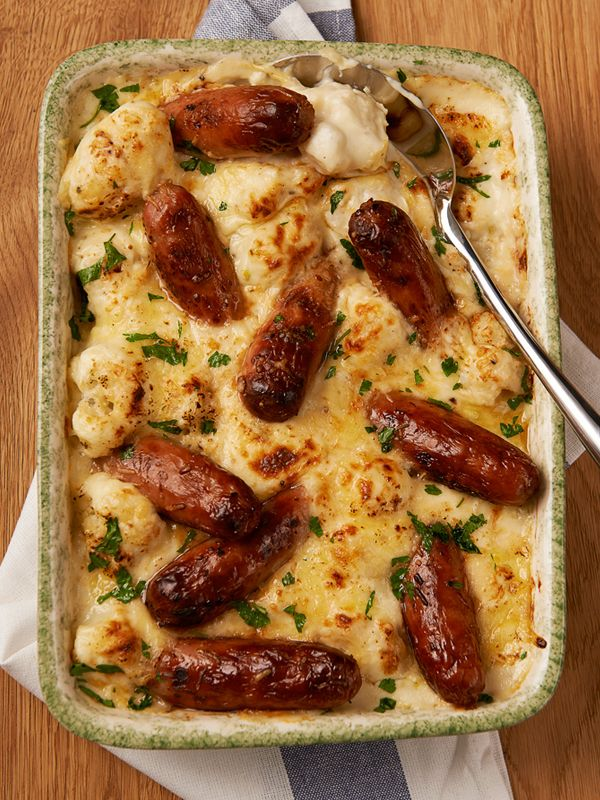 Sausages with Cauliflower Cheese - Rankin Challenge - can use free SW sausages from Iceland, and substitute the creamy cheesy sauce with flavoured quark = syn free then!!