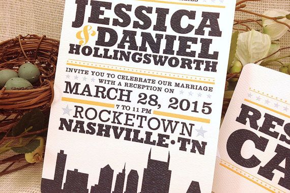 5x7 Hatch Show Print Inspired Nashville City by nestingprojectwed