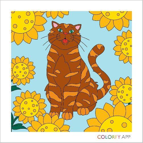 Katze mit Sonnenblumen