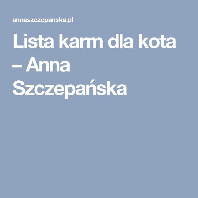 Lista karm dla kota – Anna Szczepańska