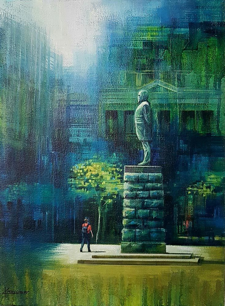 Church Square, Cape Town by fine artist Karen Wykerd. Love the focus on the monument and abstract feel of the architecture which surrounds it.