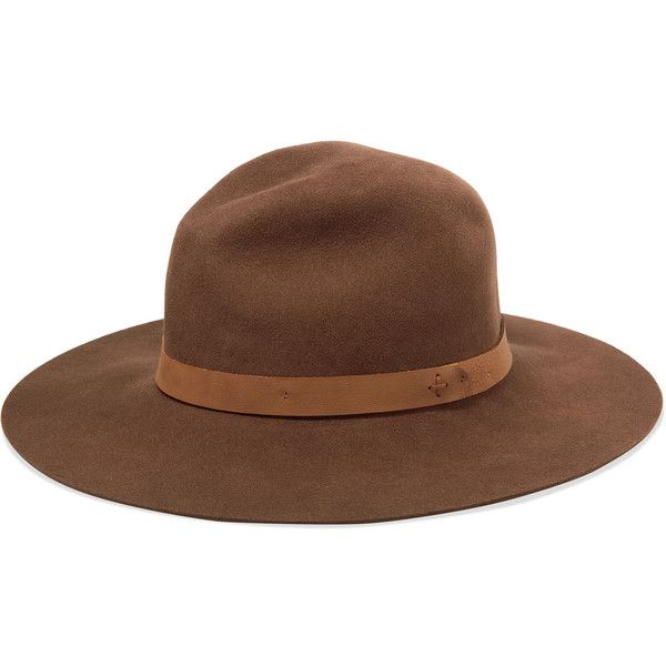 Rag & bone Faux leather trimmed wool-felt fedora found on Polyvore featuring accessories, hats, chocolate, felt fedora, woolen hat, wool felt fedora, rag bone fedora and wool fedora