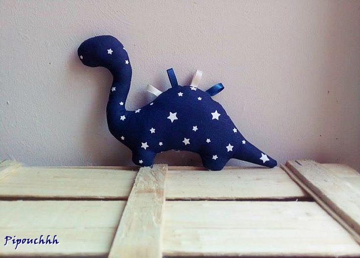 Doudou Dinosaure Bleu Etoiles pour enfant, bébé à câliner : Jeux, peluches, doudous par pipouchhh