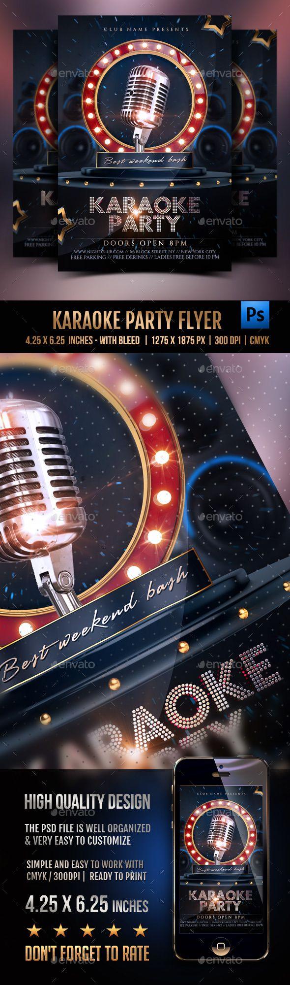 Karaoke Party Flyer Template PSD. Download here: http://graphicriver.net/item/karaoke-party-flyer/16281788?ref=ksioks