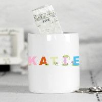Personalised Money Box for Girls - Animal Alphabet