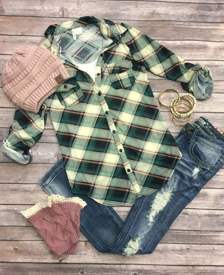 Penny Plaid Flannel Top: Green/Ivory from privityboutique