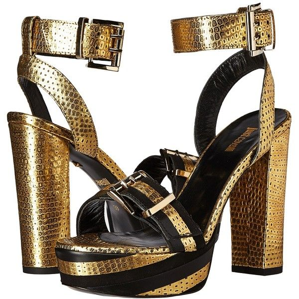 Just Cavalli Metallic Striped Sandal (Gold) High Heels ($396) ❤ liked on Polyvore featuring shoes, sandals, platform sandals, platform slip on sandals, gold high heel sandals, gold metallic sandals and gold slip on sandals