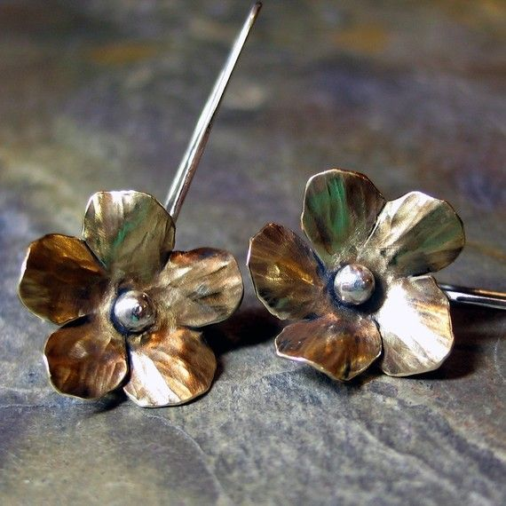 Flower Earrings Brass and Sterling Silver   by LavenderCottage, $34.00