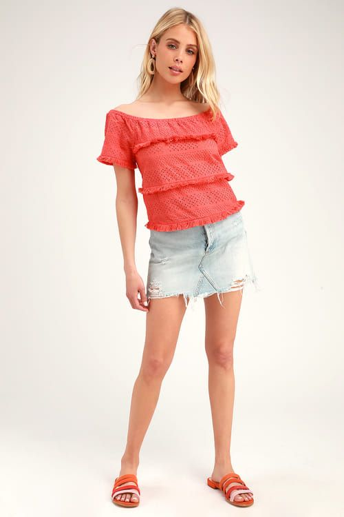 9115219beed5d2 Lulus | Julia Coral Pink Eyelet Lace Short Sleeve Top | Size Large ...