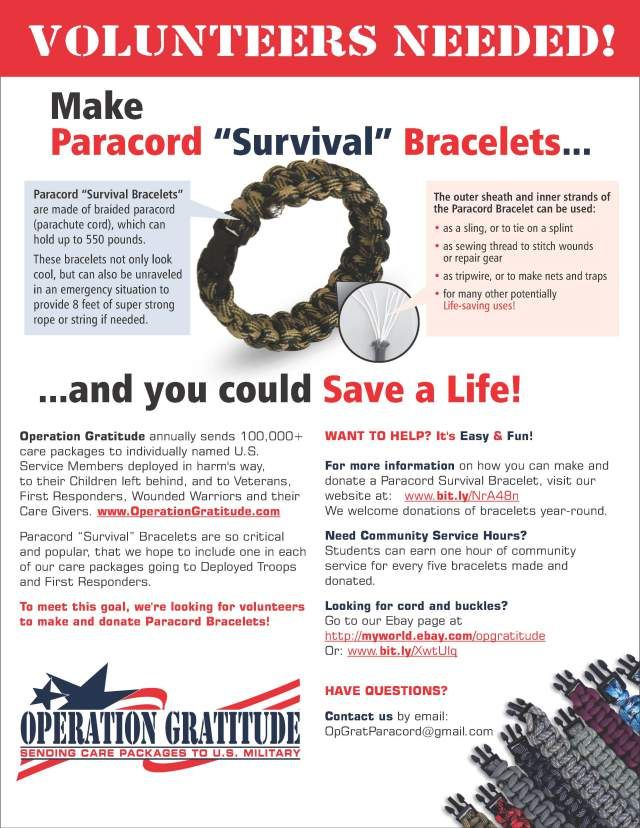 """Operation Gratitude needs volunteer to make paracord """"survival"""" bracelets - great way for the kiddos to contribute!"""