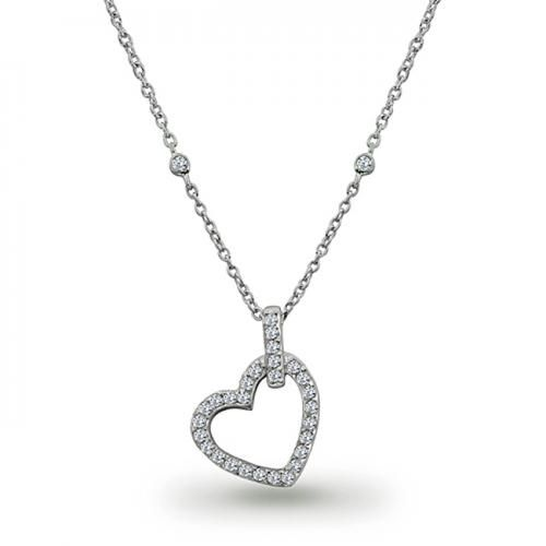 Sterling Silver CZ by the Inch Open Heart Necklace