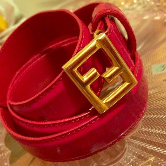 FENDI belt mini logo Red patent leather mini FENDI Accessories Belts