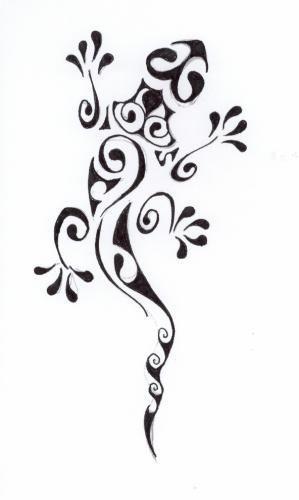 Modèle tatouage polynésien lézard margouillat
