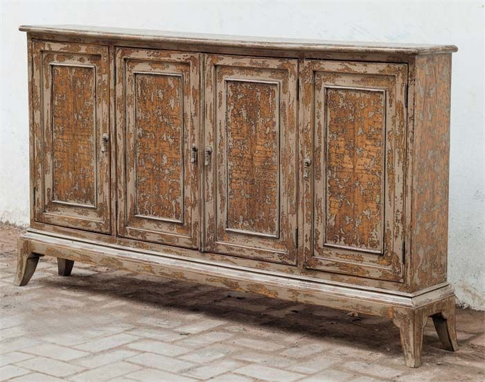 Maguire Distressed 4 Door Cabinet Western Cabinets And Buffets   Made From  Plantation Grown Mahogany Wood