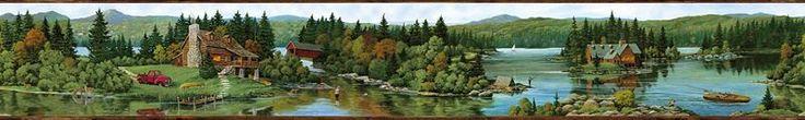 Brewster Wallpaper 145B64995 Log Lake Brown Lakeside Cabin Border