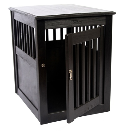 Dynamic Accents wooden dog crate with an antique black finish.