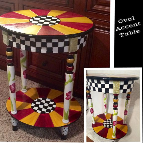 $325. Whimsical Painted Furniture, Whimsical painted table // whimsical painted furniture // custom painted oval table