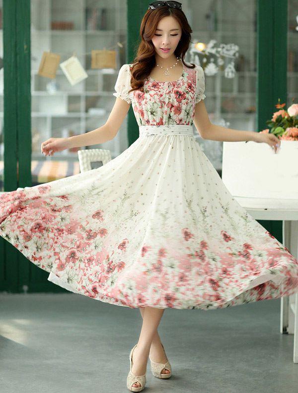 Elegant Fashion Womens Summer Bohemian Floral Short Sleeve Slim Beach Long Dress #Unbrand #BallGown #Casual