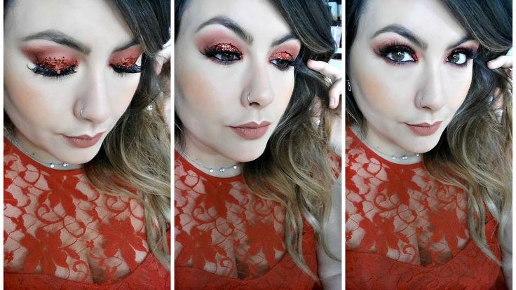 Maquillaje para Navidad Paso a Paso- Rojo con Purpurina