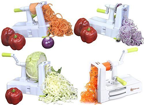 Amazon.com: Brieftons 5-Blade Spiralizer (BR-5B-02): Strongest-and-Heaviest Duty Vegetable Spiral Slicer, Best Veggie Pasta Spaghetti Maker for Low Carb/Paleo/Gluten-Free, With Extra Blade Caddy & 3 Recipe Ebooks: Kitchen & Dining