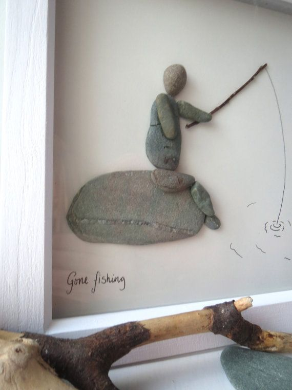 Father of grandpa gift Gone fishing pebble art by Herecomesthetide