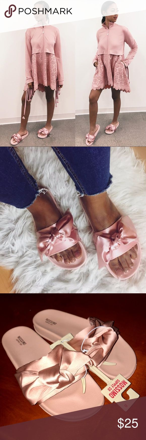 ON SALE • NWT Satin bow pink slides 😍 Brand new satin silk like bow slides in pink they look exactly like the Rihanna Fenty ones. Price is firm. Bundle to save! Fit like a 7.5 to an 8 in women's. Mossimo Supply Co. Shoes Sandals