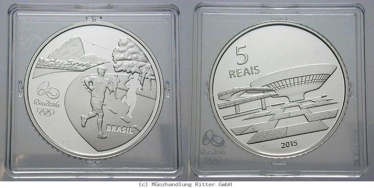 RITTER Brasilien, 5 Real 2015, Olympische Spiele Rio de Janeiro 2016, Läufer, PP #coins #numismatics