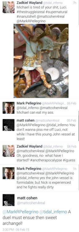 Mark Pellegrino and Matt Cohen revisit their angel characters, Lucifer and Michael, in this twitter exchange. - love seeing them have fun for no reason!