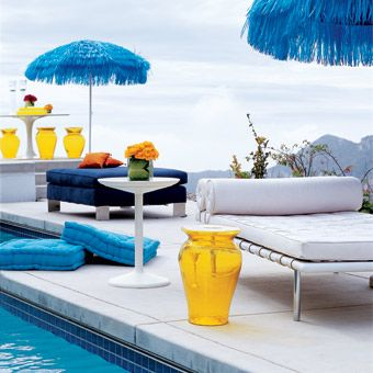 Blue, White and Yellow Poolside Decor